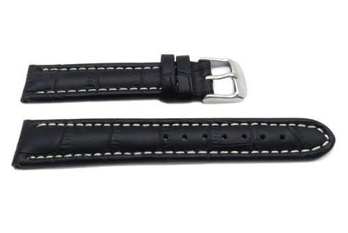 Genuine Leather Textured Black Alligator Grain White Stitching Watch Band