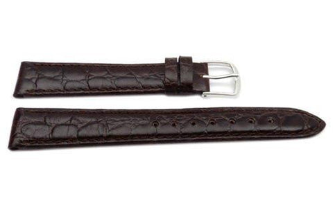 Genuine Leather Crocodile Grain Brown Semi-Gloss Watch Strap