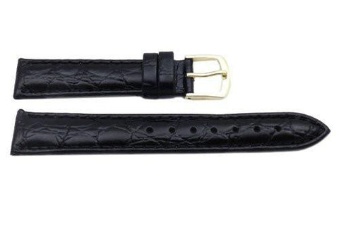 Hadley Roma Crocodile Grain Black Textured Leather Watch Strap