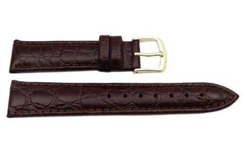Hadley Roma Crocodile Grain Brown Textured Leather Watch Band