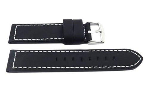 Hadley Roma Black Silicone Over Leather Hypo-Allergenic Watch Strap