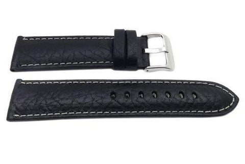 Hadley Roma Genuine Leather Black Cut Edge Sport Wide Watch Strap