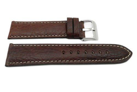 Hadley Roma Genuine Leather Brown Cut Edge Sport Wide Watch Band