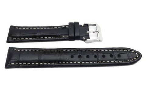 Hadley Roma Black Genuine Matte Alligator Breitling Style Watch Band