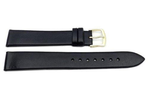 Hadley Roma Black Mens' Genuine Calfskin Flat Watch Strap