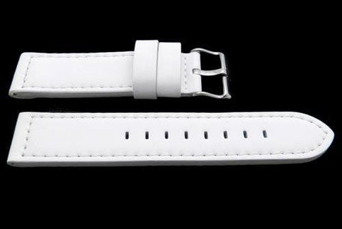Hadley Roma White Silicone Over Leather Hypo-Allergenic Watch Strap