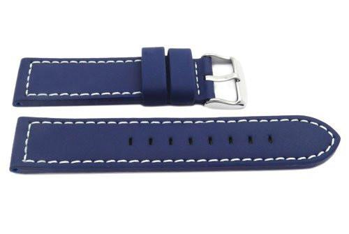 Hadley Roma Blue Silicone Over Leather Hypo-Allergenic 18mm Watch Strap