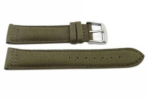 Hadley Roma Olive Genuine Canvas Material Cut Edge Watch Strap