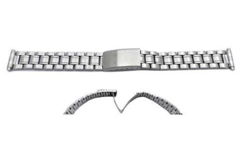 Hadley Roma Ladies Silver Tone Stainless Steel Squeeze End Watch Strap