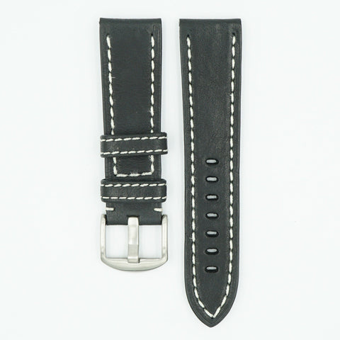Black Vegetable Tanned Leather Watch Band