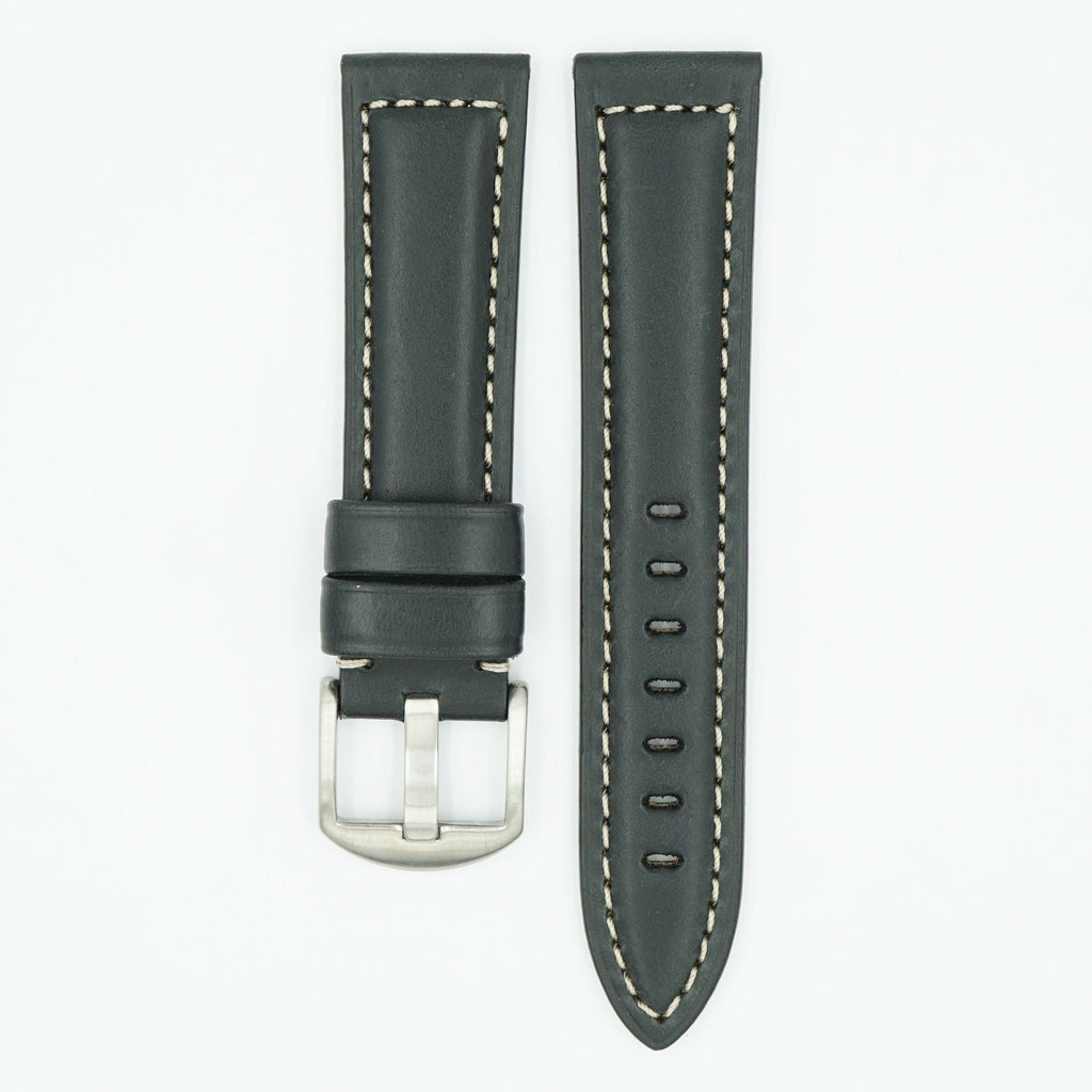 Oil Tan Black Leather Strap