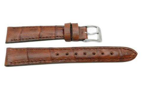 Genuine Swiss Army Brown Textured Leather Crocodile Grain 15mm Officer's Dress Watch Strap