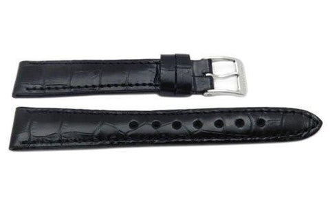 Genuine Swiss Army Black Textured Leather Crocodile Grain 16mm Officer's Dress Watch Strap