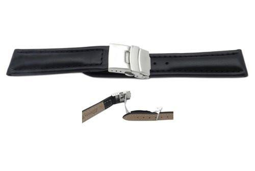 Smooth Waterproof Genuine Black Leather Deployant Buckle Watch Strap