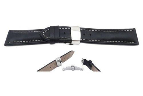 Smooth Waterproof Genuine Black Leather White Stitching Double Fold-Over Buckle Watch Band