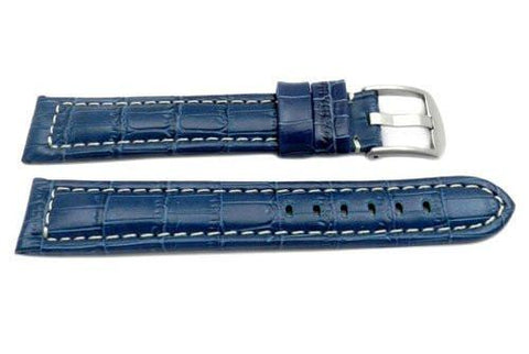 Genuine Italian Crocodile Grain Blue Leather Long Watch Strap