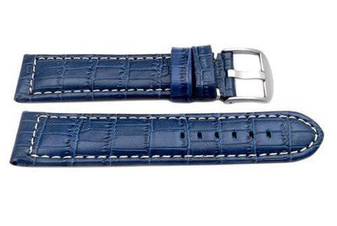 Genuine Italian Crocodile Grain Blue Leather Extra Long Watch Strap