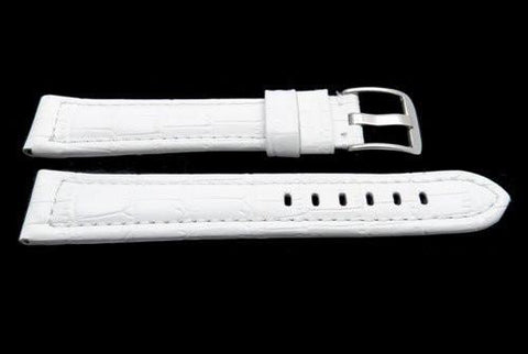 Genuine Italian Crocodile Grain White Leather Extra Long Watch Band