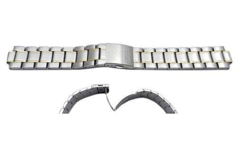 Seiko Dual Tone Stainless Steel Push Button Clasp Watch Band