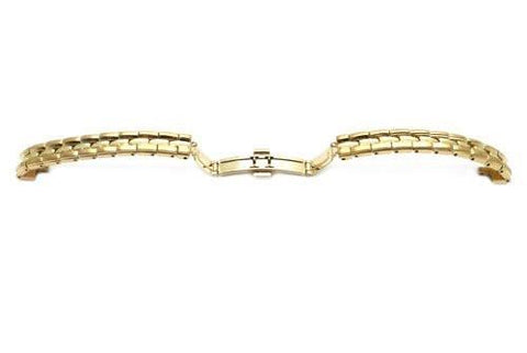 Seiko Gold Tone Stainless Steel Double Fold-Over Push Button Clasp Watch Strap
