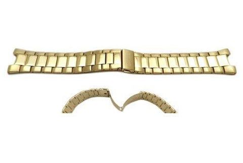 Seiko Gold Tone Stainless Steel Fold-Over Push Button Clasp Watch Band