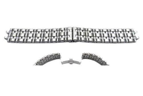 Seiko Silver Tone Stainless Steel Double Fold-Over Push Button Clasp Watch Strap