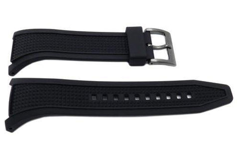 Seiko Black Rubber Tapered Edge Black Metal Buckle Watch Strap