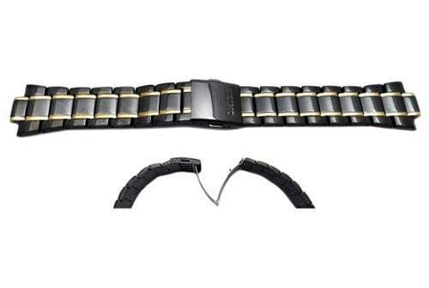 Seiko Dual Tone Black and Gold Stainless Steel Fold-Over Push Button Clasp Watch Bracelet