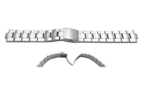 Seiko Silver Tone Stainless Steel Fold-Over Push Button Clasp Watch Strap
