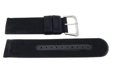 Seiko Black Nylon Dark Gray Buckle 22mm Watch Strap