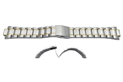 Seiko Dual Tone Stainless Steel 22mm Push Button Fold-Over Clasp Watch Strap