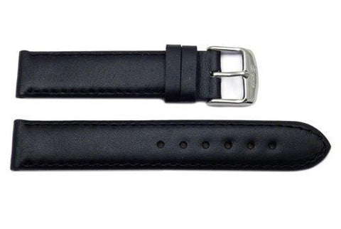 Waterproof Black Smooth Flat Sport Leather Watch Strap