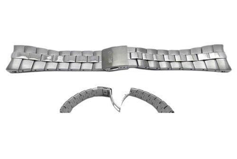 Seiko Silver Tone Stainless Steel Brushed and Polsihed 26mm Push Button Fold-Over Clasp Watch Bracelet