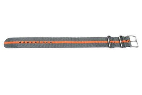 Timex 20mm Gray with Orange Stripe Weekender/Nato Band
