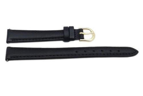 Timex Black Calfskin Leather 12mm Ladies Watch Band