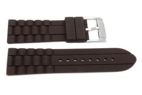 Fossil Brown Link Style Silicone 24mm Watch Band