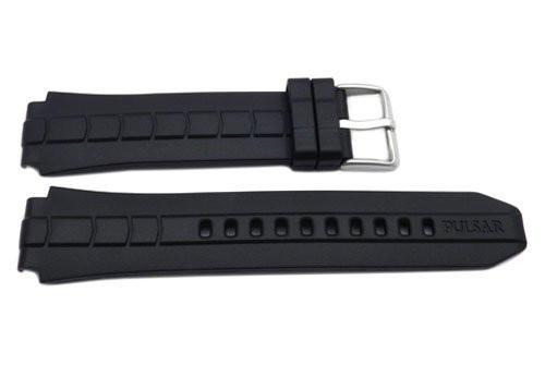 Pulsar Black Rubber Jagged Arrow Pattern 23/18mm Watch Band