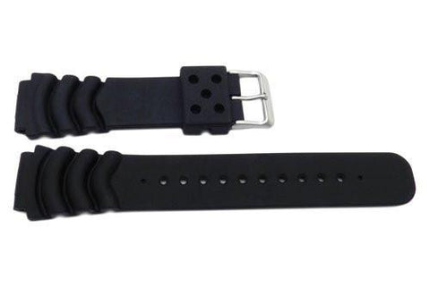 Pulsar Black Smooth Rubber Divers 20mm Watch Band