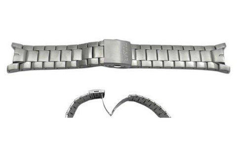 Pulsar Silver Tone Stainless Steel Push Button Fold-Over Clasp 25mm Watch Bracelet