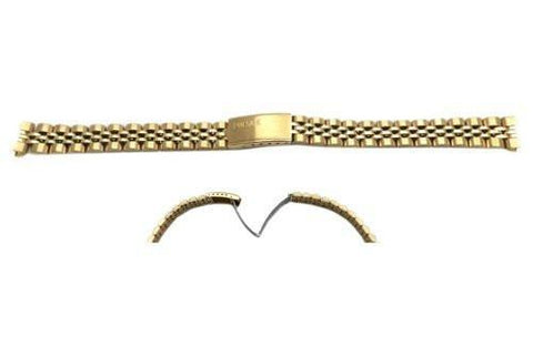 Pulsar Gold Tone Stainless Steel Fold-Over Clasp 12mm Watch Bracelet