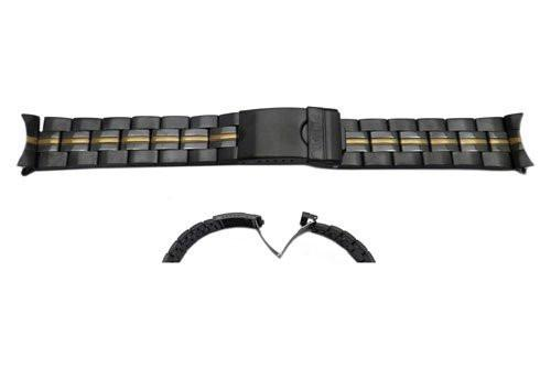 Pulsar Black Dual Tone Stainless Steel Fold-Over Clasp 20mm Watch Bracelet