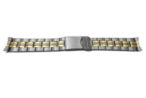 Pulsar Dual Tone Stainless Steel Double Locking Fold-Over Clasp 22mm Watch Bracelet