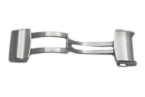 Hadley Roma Silver Tone Stainless Steel Locking Push Button Adjustable Deployment Buckle