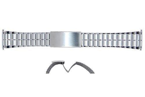 Stainless Steel 18-22mm Solid Link Design Fold-Over Clasp Mens Watch Bracelet