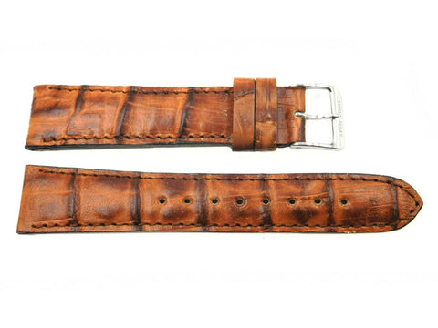 Genuine Swiss Army Brand Officer's Dress 19mm Crocodile Grain Brown Watch Band