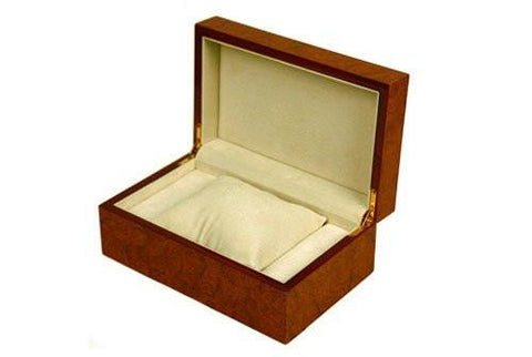 Burlwood Finish Watch Box for 1 Watch-Red Orange