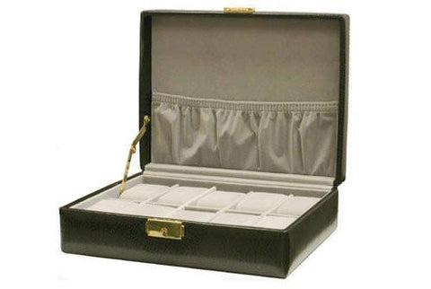 Black Textured Leather Storage Case Watch Box for 10 Watches