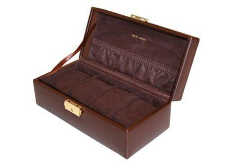 Brown Textured Leather Storage Case Watch Box for 4 Watches
