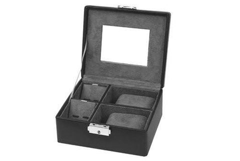 Black Leather Storage Case Watch for 2 Watches