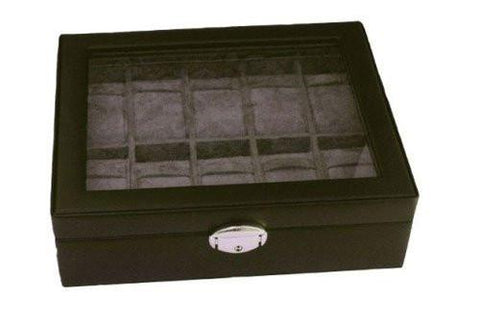 Black Leather Storage Case Watch Box for 10 Watches